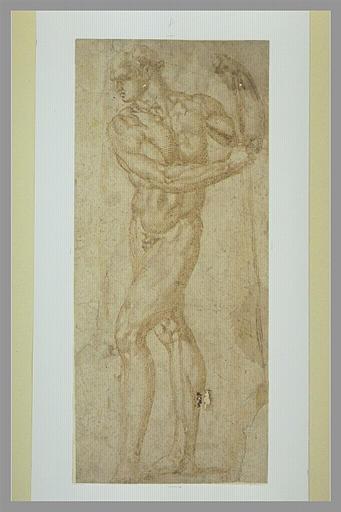 BANDINELLI Baccio : Homme nu, debout, prenant appui sur un bâton