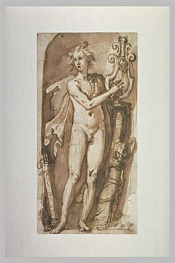 Apollon nu, debout et vu de face, chante en s'accompagnant d'une lyre