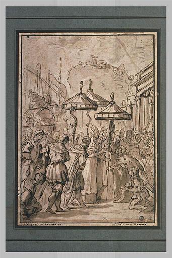 Pape donnant l'investiture du duché de Toscane à un Prince Médicis
