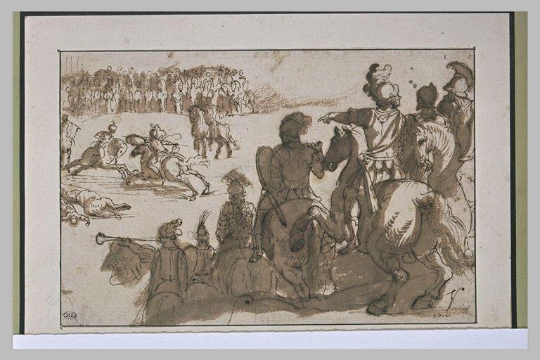 Combat entre deux cavaliers, en présence de deux armées ennemies