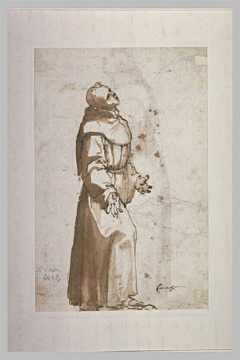 Francescain debout, les bras ouverts et esquisse d'une autre figure