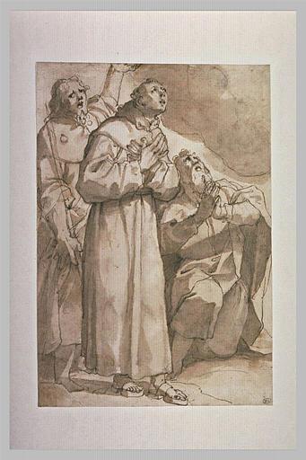 Saint François, saint Jacques et un autre saint en prières