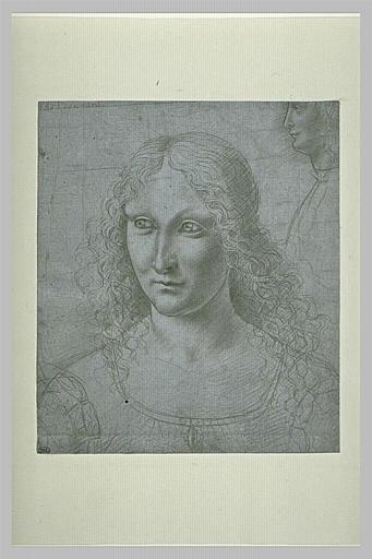 Portrait de femme en buste, de trois quarts à gauche ; profil d'un jeune hom
