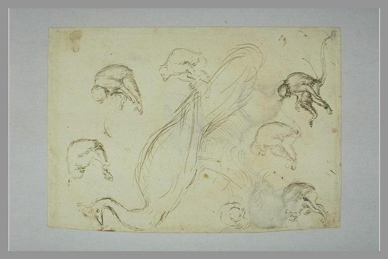 Sept singes assis, dans des attitudes différentes ; un paon de profil_0