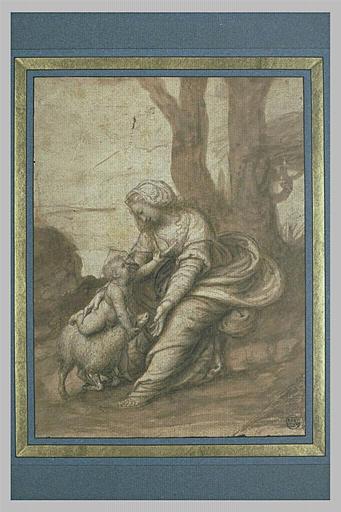 Vierge avec l'Enfant jouant avec un agneau