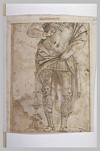 Etude de figure portant une armure d'apparat (sans la tête)
