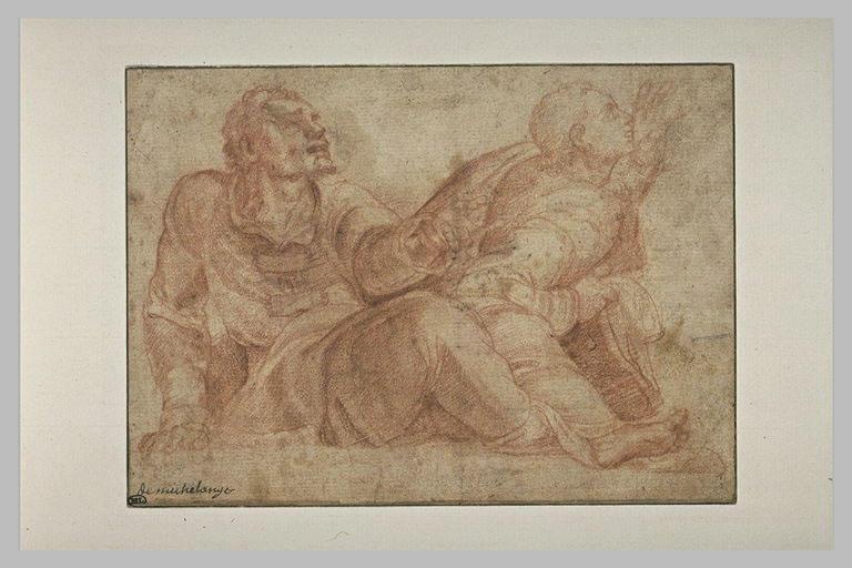 Deux hommes à demi allongés, levant les yeux, l'un tendant la main