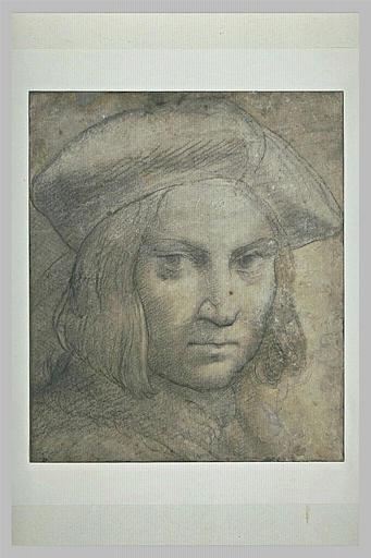 Tête d'homme coiffée d'un bonnet à larges bords