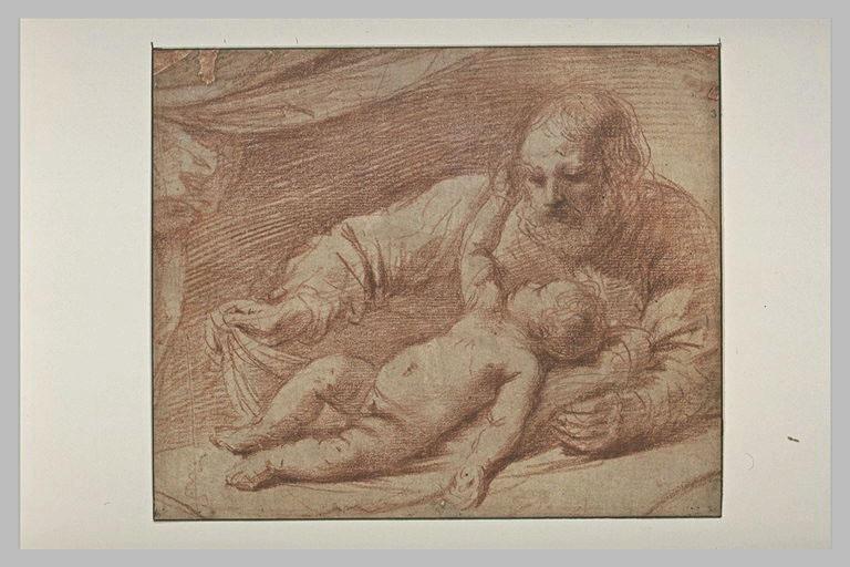 BARBIERI Giovanni Francesco : Saint Joseph avec l'Enfant, allongé devant lui, sur une draperie