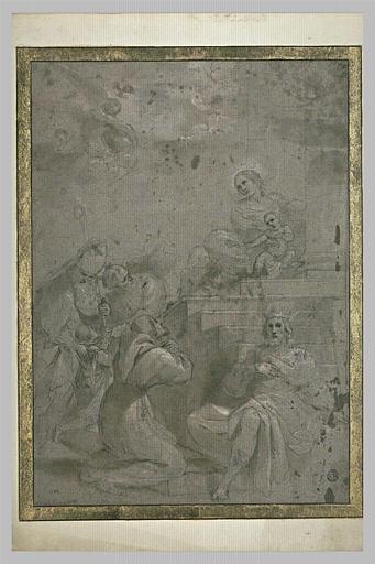 Vierge à l'Enfant, David, saint François d'Assise, un évêque et un enfant