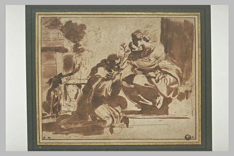 BARBIERI Giovanni Francesco : Saint Dominique agenouillé devant la Vierge et l'Enfant