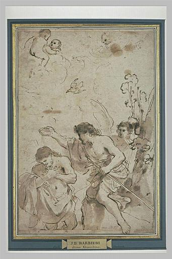 BARBIERI Giovanni Francesco : Le Baptême de Jésus, vu jusqu'aux genoux, les mains sur la poitrine