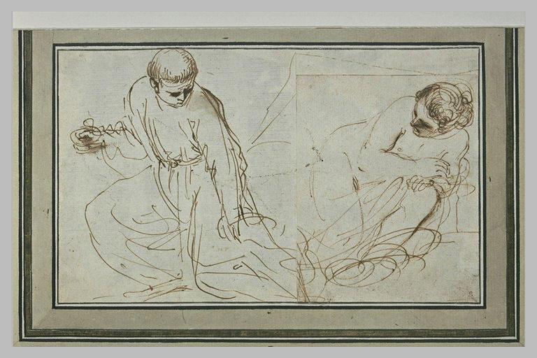 Un religieux agenouillé, portant une coupelle ; une femme à demi nue_0