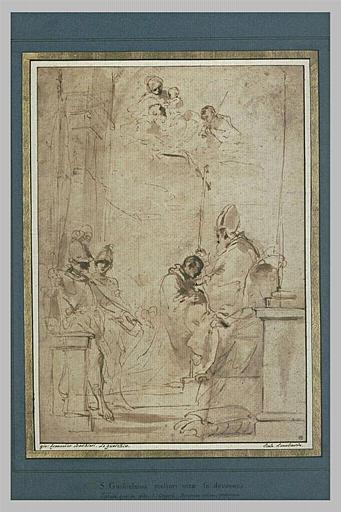 Deux soldats regardent saint Guillaume agenouillé devant un évêque_0