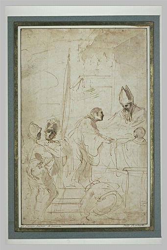 BARBIERI Giovanni Francesco : Saint Guillaume agenouillé devant un évêque