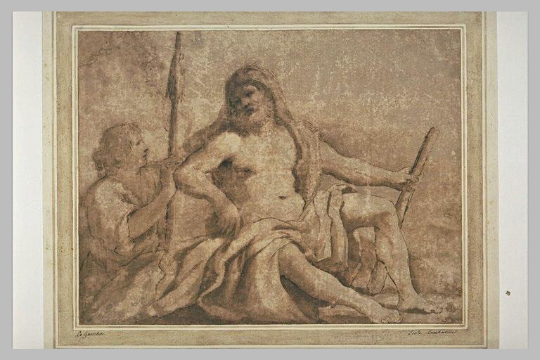 BARBIERI Giovanni Francesco : Hercule assis à côté d'Omphale