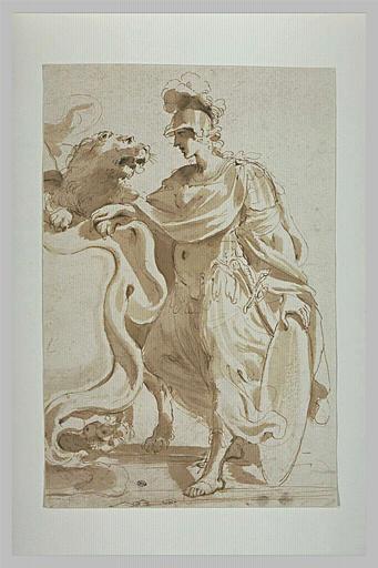 Projet de frontispice : femme casquée près d'un lion et d'un écusson_0