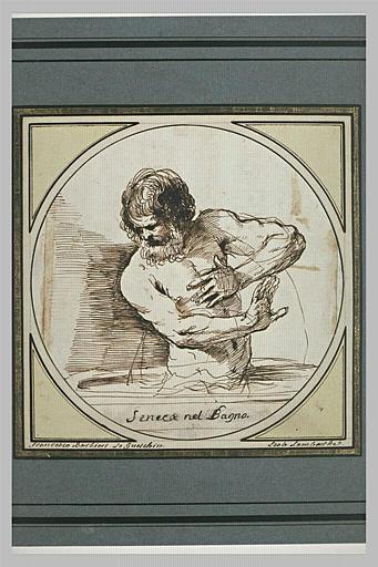 BARBIERI Giovanni Francesco : Sénèque dans le bain, vu à mi-corps, tourné vers la droite