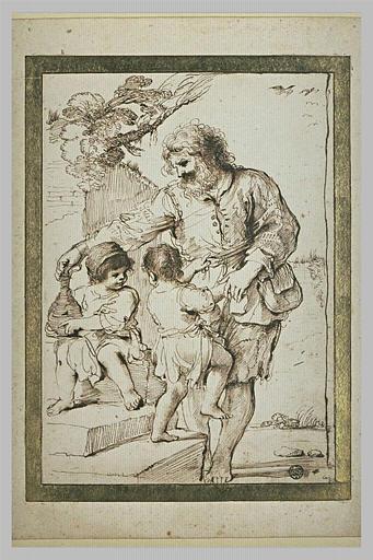 Un vieil homme debout paraissant jouer avec des enfants_0