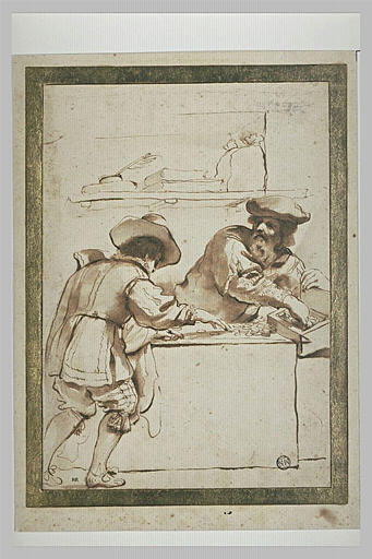 BARBIERI Giovanni Francesco : Un vieil homme et un jeune homme comptant de l'argent dans une boutique