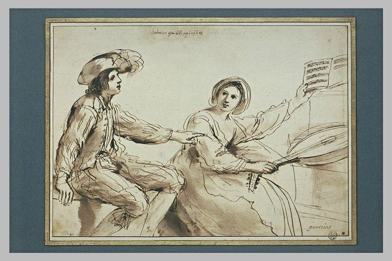 Un jeune homme et une jeune fille. Elle tient une viole et une partition