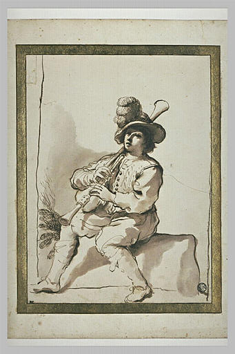 Figure d'homme assis, jouant de la musette