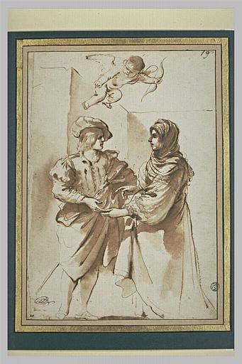 BARBIERI Giovanni Francesco : Une femme disant la bonne aventure à un jeune homme