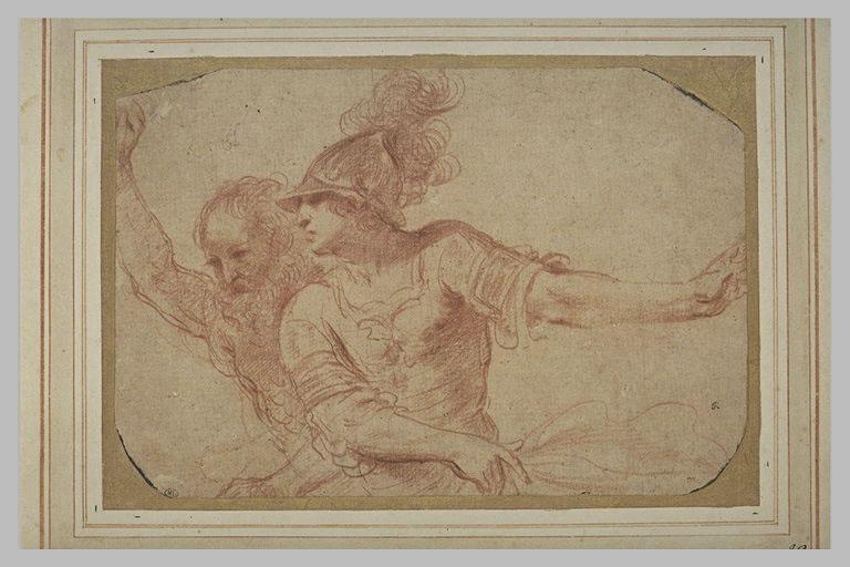 BARBIERI Giovanni Francesco : Un vieillard et un guerrier vus à mi-corps