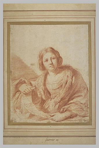 Femme dépliant un rouleau de parchemin : une sibylle