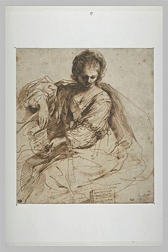 Femme, assise, déroulant un parchemin : la sibylle de Cumes_0