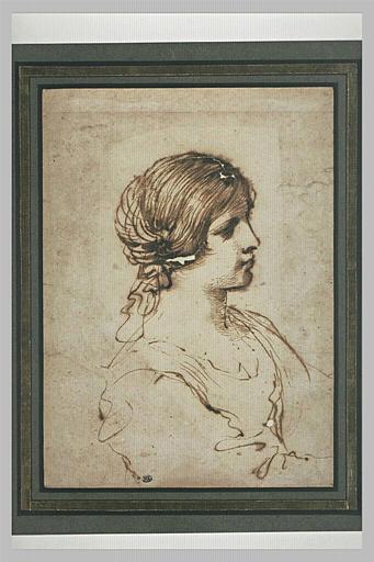 Figure de jeune fille, vue à mi-corps, de profil vers la droite