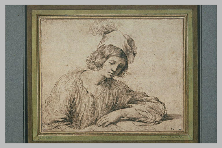 Jeune homme, vu en buste, lisant