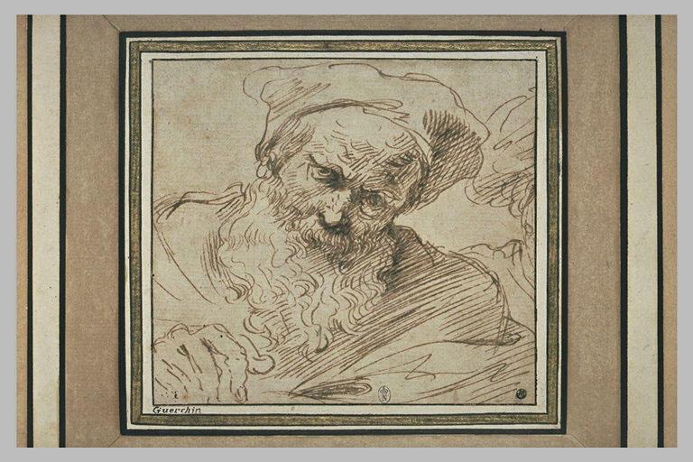 BARBIERI Giovanni Francesco : Un buste de vieillard, vu de face, la tête inclinée à droite