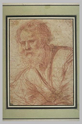 BARBIERI Giovanni Francesco : Homme agé, vu en buste, légèrement tourné vers la gauche