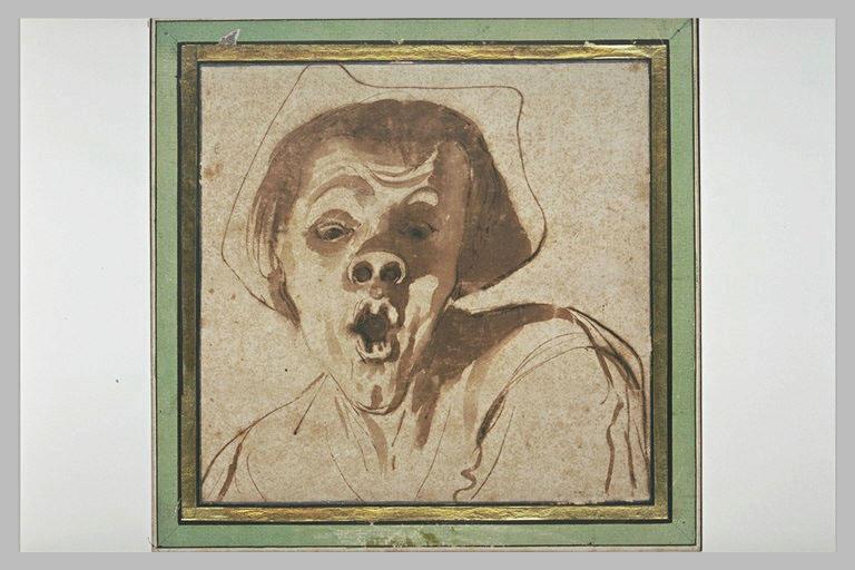 Caricature : figure d'homme avec un groin, ouvrant la bouche_0