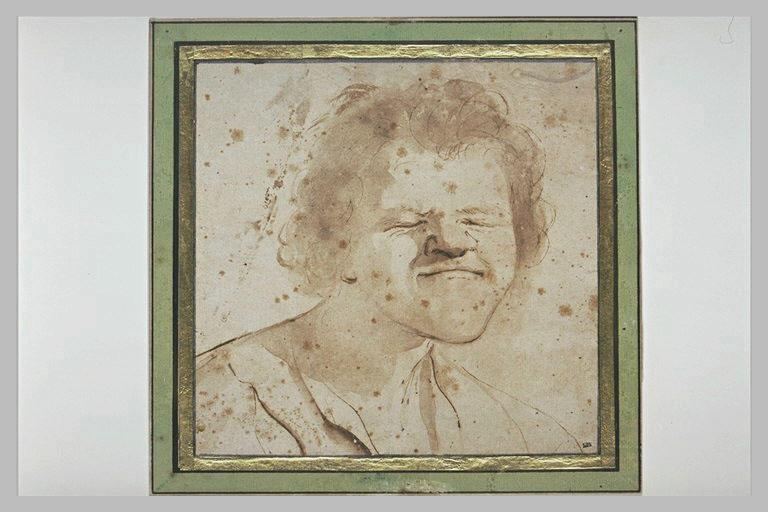 BARBIERI Giovanni Francesco : Caricature : homme semblant attendre une surprise, les yeux fermés