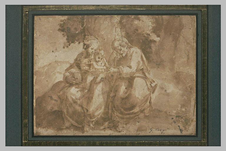 Saint Joseph présente un fruit à Jésus assis sur les genoux de la Vierge