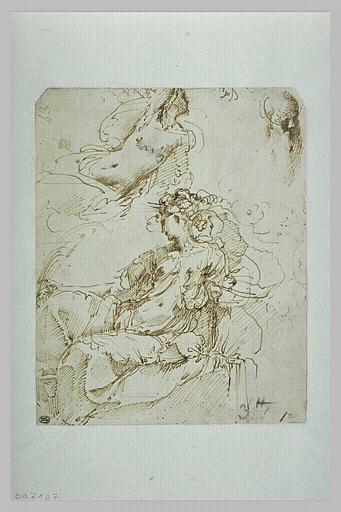 Figures de femme assises ; tête d'homme