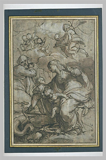 Sainte famille avec le petit saint Jean et l'Enfant Jésus écrasant le Démon