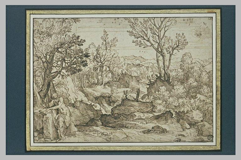 Paysage avec saint Jérôme assis sur un rocher, une main posée sur un livre
