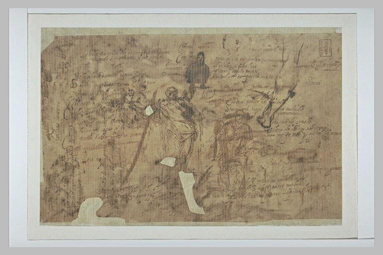 Texte manuscrit et une figure debout, des silhouettes, une jambe