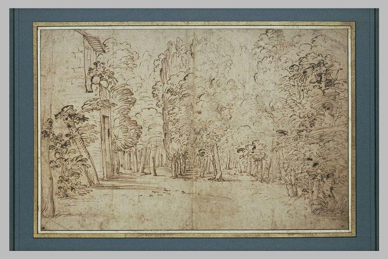 Paysage avec une façade de maison devant une forêt