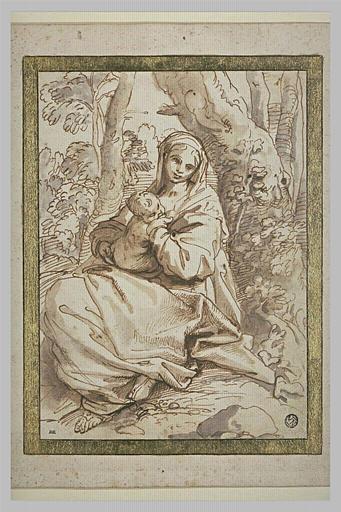 La Vierge allaitant l'Enfant, dans un paysage