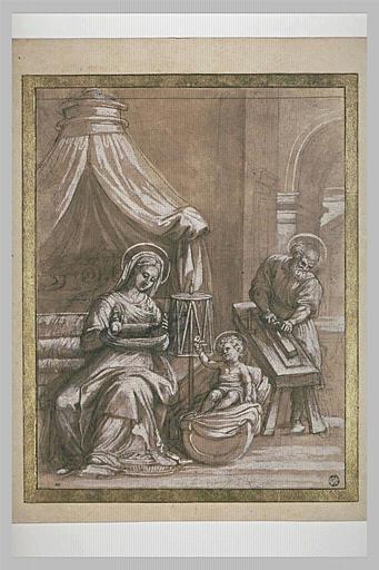 La Vierge filant, l'Enfant tenant une fleur et saint Joseph rabotant
