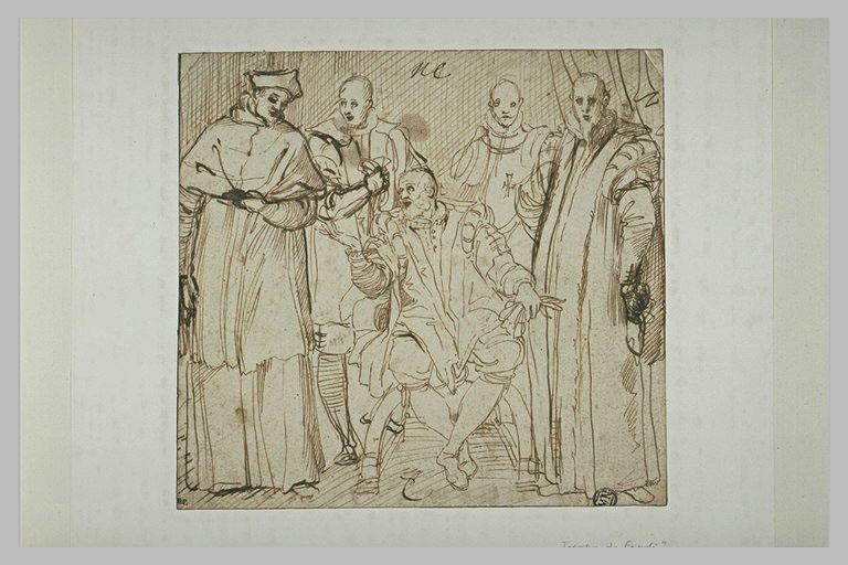 Un souverain et plusieurs personnages de la cour composition de cinq figures