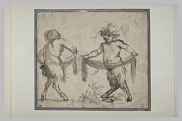 Deux jeunes satyres tenant des draperies