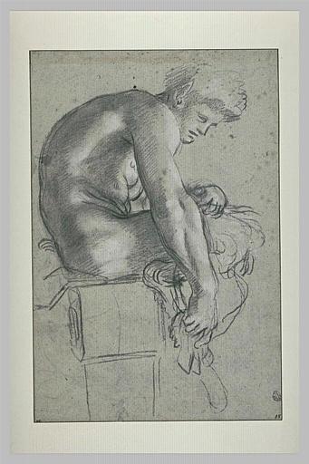 Jeune satyre assis, de profil, penché en avant