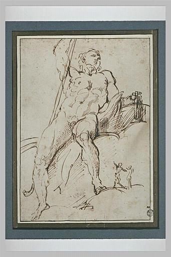 Polyphème nu, assis, tenant une flûte de Pan, et deux figures plus petites