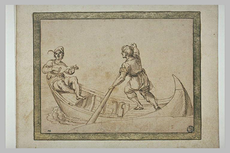 Homme jouant de la guitare, dans une barque conduite par un rameur
