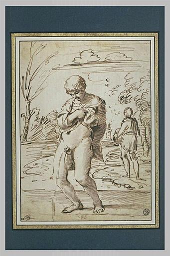 Jeune garçon, de face, urinant, et autre figure dans un paysage